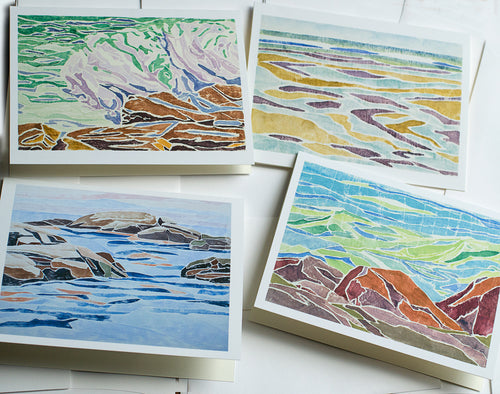 collection of 8 notecards and envelopes featuring seascape white-line woodcuts by New England artist Hannah Phelps