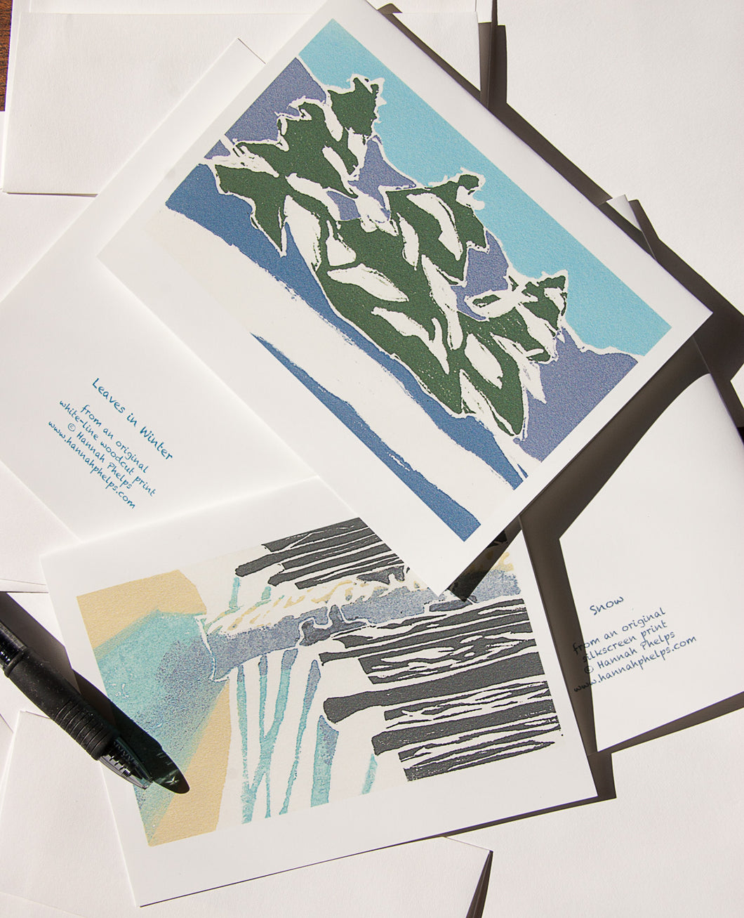 collection of 8 notecards and envelopes featuring winter block prints by New England artist Hannah Phelps