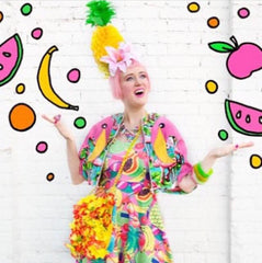 Ciara Monahan Flamingo Cape & Pineapple Headpiece - 'Sara is in Love With' Blog