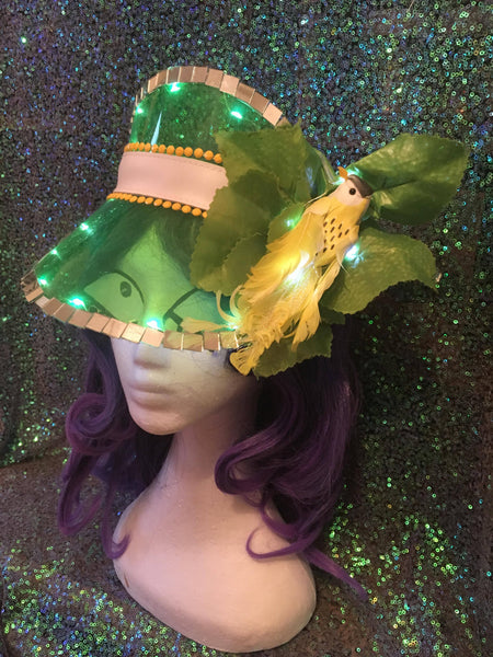 Green Festival Visor with Lights & Yellow Tropical Bird - Ciara Monahan