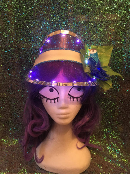 Purple Festival Visor with Lights & Blue Tropical Bird - Ciara Monahan