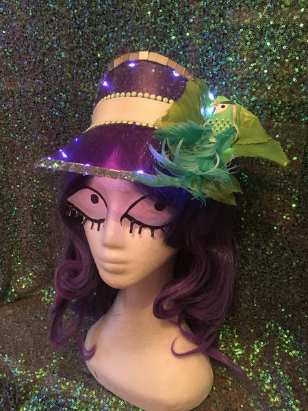 Purple Festival Visor with Lights & Green Tropical Bird - Ciara Monahan