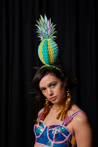 Ciara Monahan - Turquoise Fold Away Psychedelic Pineapple Headpiece with Gold Tassels