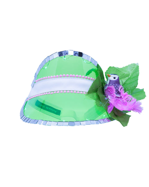 Green Festival Visor with Lights & Pink Tropical Bird - Ciara Monahan