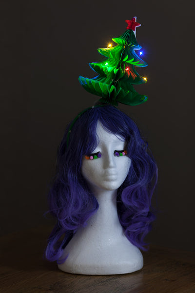 Fold-Away Xmas Tree Headpiece with Rainbow Fairy Lights - Ciara Monahan