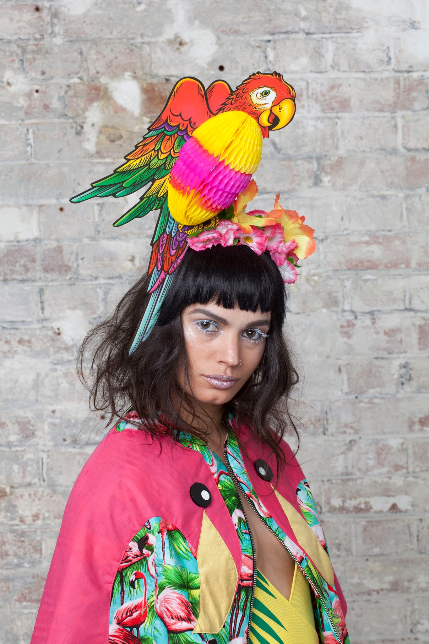 Tropical Festival Parrot Headpiece with Flowers - Ciara Monahan
