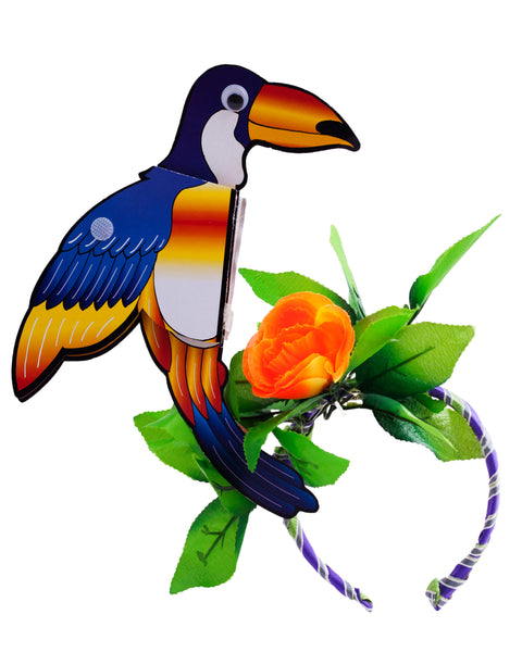 Tropical Festival Parrot Headpiece UV Reactive Flower - Ciara Monahan