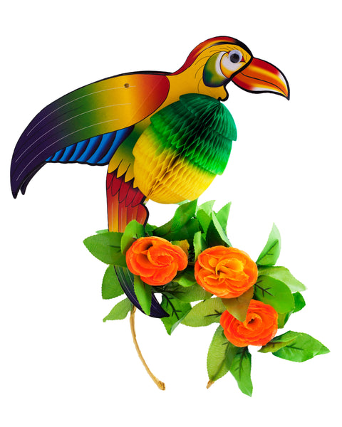 Tropical Festival Parrot Headpiece UV Reactive Flowers - Ciara Monahan