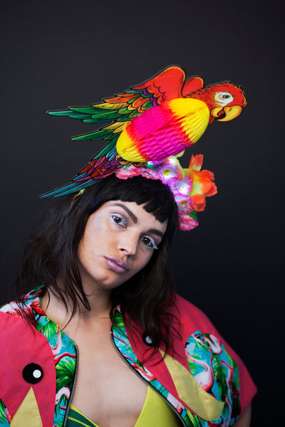 Light Up Tropical Festival Parrot Headpiece with Flowers - Ciara Monahan