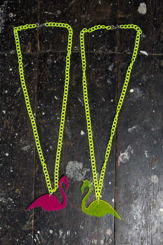Flamingo Necklace - Neon Perspex - Festival Accessory - Ciara Monahan