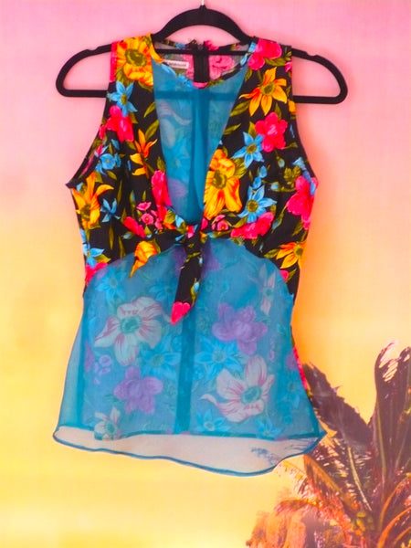Tropical Floral Festival Fashion Knot Top - Ciara Monahan