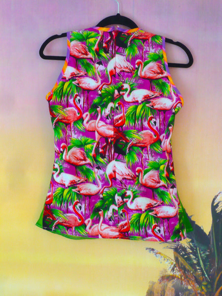 Tropical Flamingo Festival Fashion Knot Top - Ciara Monahan