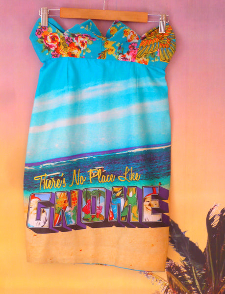 Tropical Festival Fashion Skirt with Beach Postcard Print - Ciara Monahan