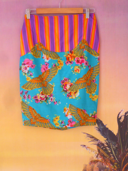 Tropical Festival Fashion Skirt with Bird Print - Ciara Monahan