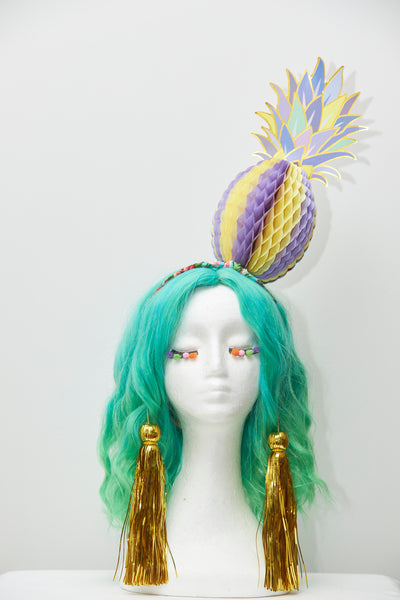Ciara Monahan - Purple Fold Away Psychedelic Pineapple Headpiece with Gold Tassels