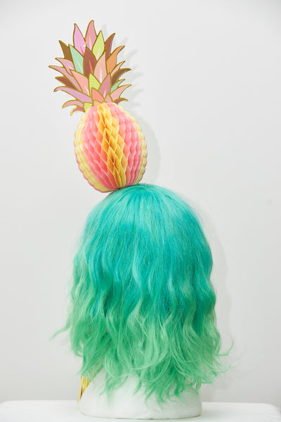Ciara Monahan - Pink Fold Away Psychedelic Pineapple Headpiece with Gold Tassels