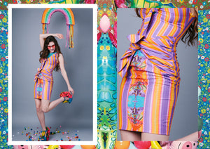 Tropical Festival Fashion Bikini Knot Dress with Stripe Print - Ciara Monahan