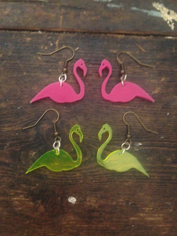 Flamingo Earrings - Neon Perspex - Festival Accessory - Ciara Monahan