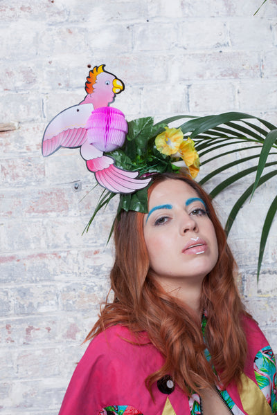 Tropical Floral Festival Headpiece with Pink Cockatoo Bird - Ciara Monahan