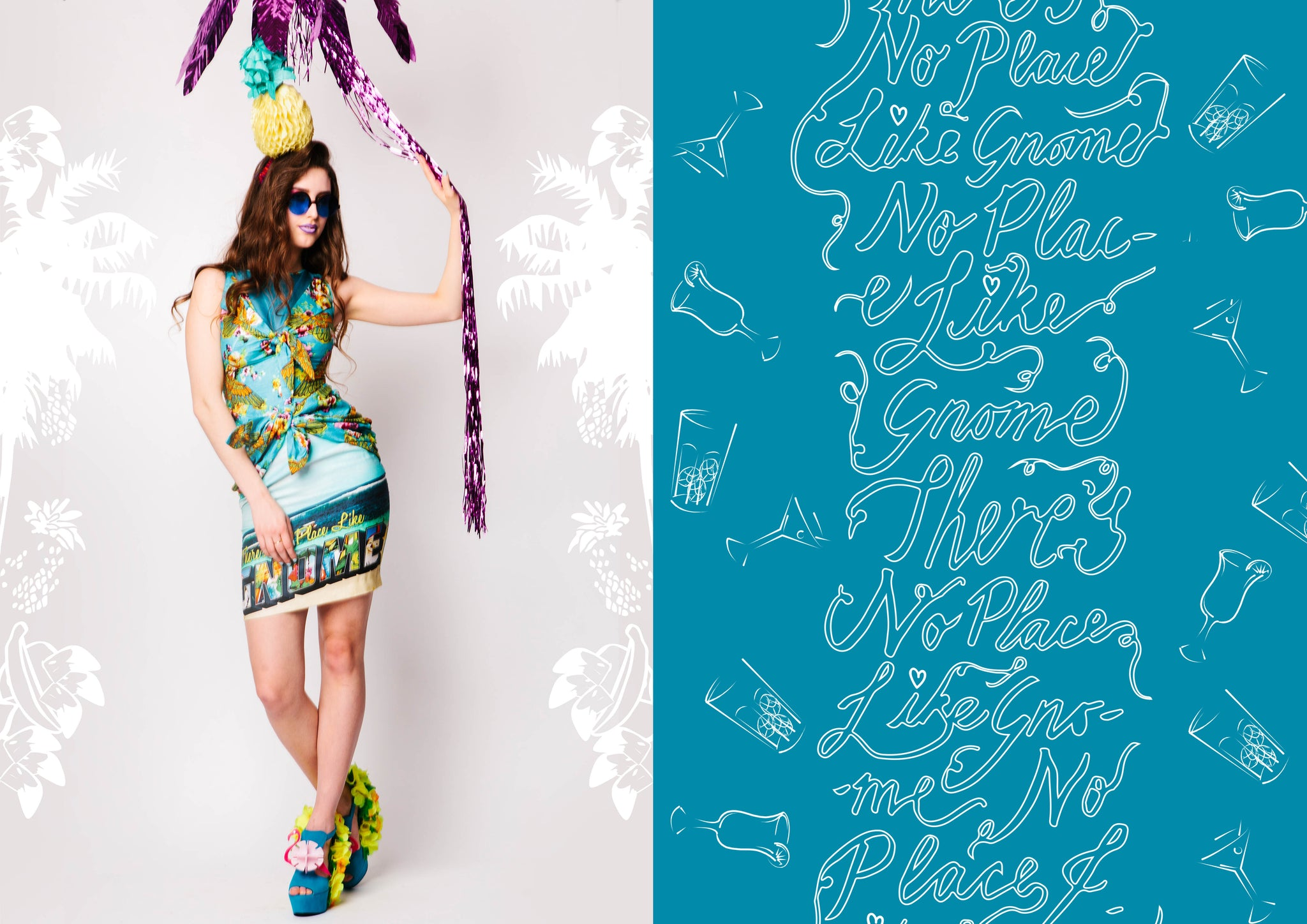 Tropical Festival Fashion Bikini Knot Dress with Beach Postcard Print - Ciara Monahan