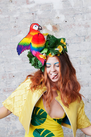 Tropical Rainbow Festival Parrot Headpiece - Ciara Monahan