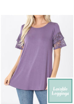Misses Tunic - Lace Sleeve Amethyst