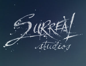 Surreal Studios Art logo. Original art done on bristol paper with ink and calligraphy pen. Splatters and fonts are all original and used for Surreal Studios.