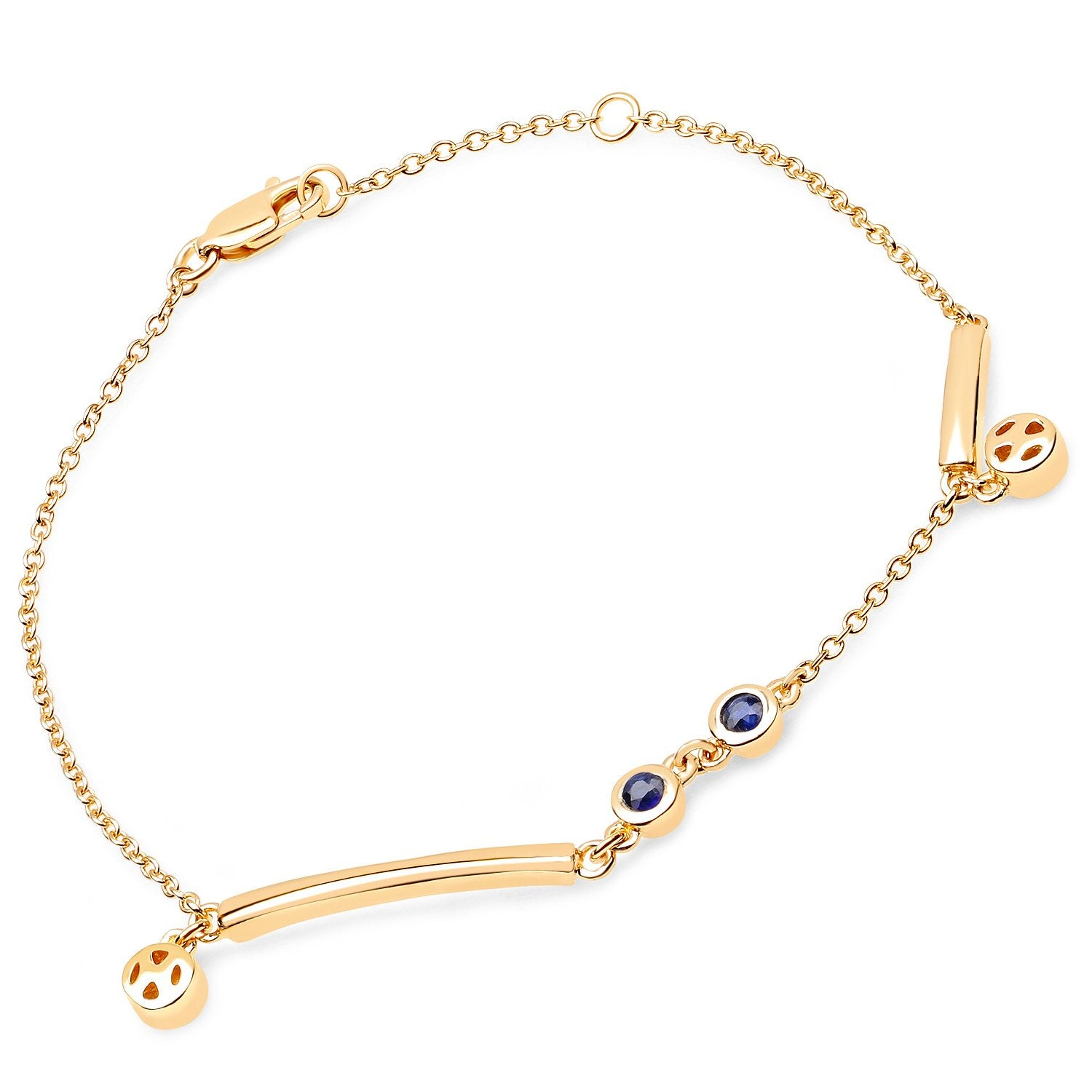LoveHuang 0.26 Carats Genuine Kyanite Minimalist Bracelet Solid .925 Sterling Silver With 18KT Yellow Gold Plating