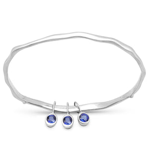 LoveHuang 1.03 Carats Genuine Kyanite Minimalist Bangle Solid .925 Sterling Silver With Rhodium Plating, Matte Finish
