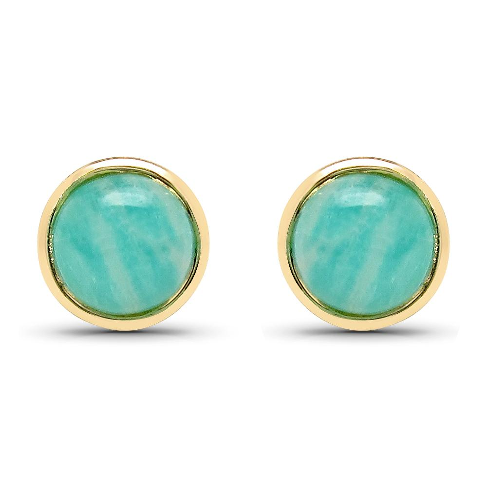 LoveHuang 1.80 Carats Genuine Amazonite Round Bezel Stud Earrings Solid .925 Sterling Silver With 18KT Yellow Gold Plating