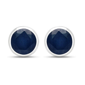 LoveHuang 1.80 Carats Genuine Blue Sapphire Round Bezel Stud Earrings Solid .925 Sterling Silver With Rhodium Plating