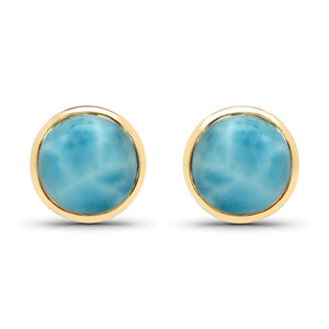 LoveHuang 2.18 Carats Genuine Larimar Round Bezel Stud Earrings Solid .925 Sterling Silver With 18KT Yellow Gold Plating