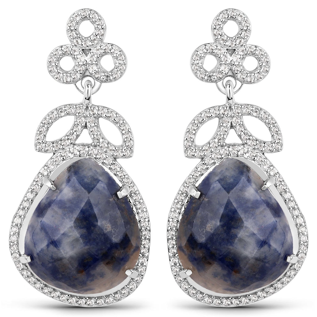 LoveHuang 16.59 Carats Genuine Blue Aventurine and White Topaz Floral Dangle Earrings Solid .925 Sterling Silver With Rhodium Plating