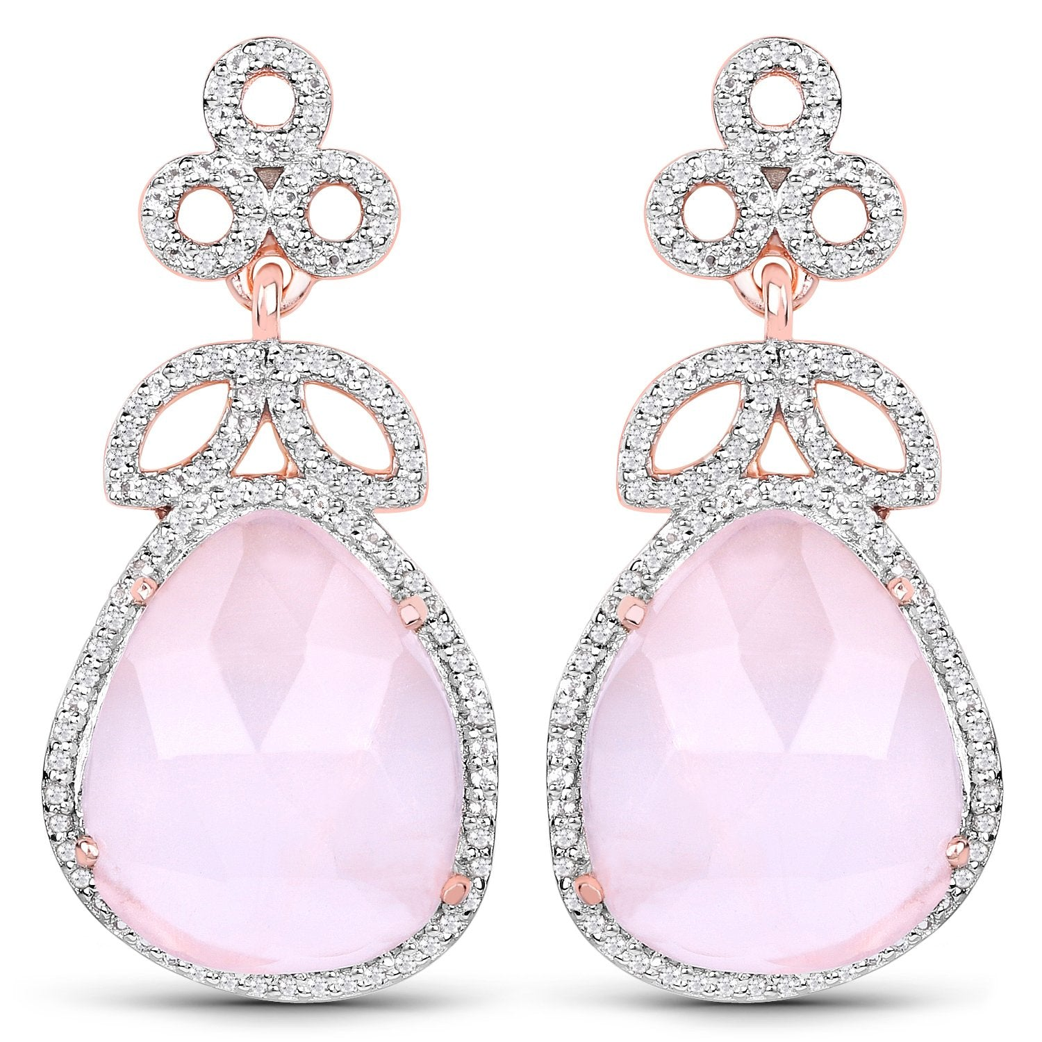 LoveHuang 18.72 Carats Genuine Rose Quartz and White Topaz Floral Dangle Earrings Solid .925 Sterling Silver With 18KT Rose Gold Plating