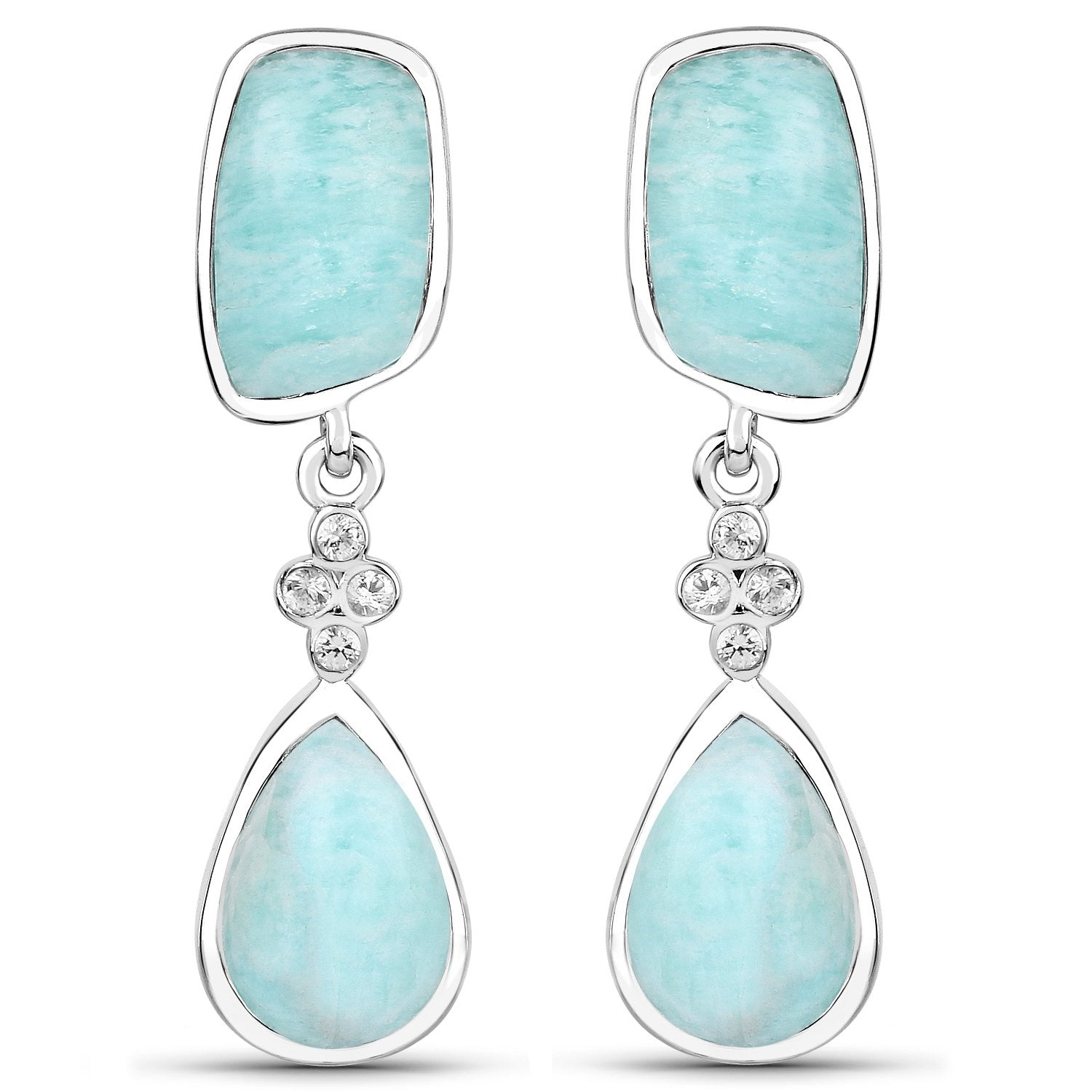 LoveHuang 11.90 Carats Genuine Amazonite and White Topaz Dangle Earrings Solid .925 Sterling Silver With Rhodium Plating