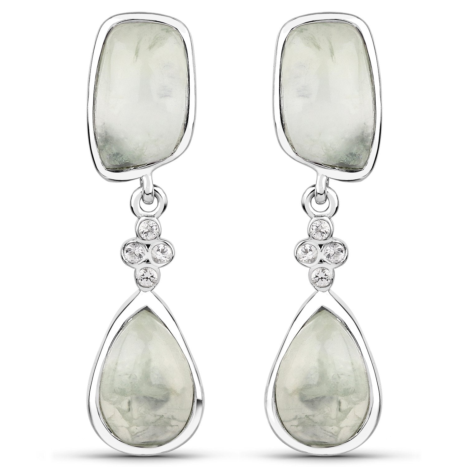 LoveHuang 13.03 Carats Genuine Prehnite and White Topaz Dangle Earrings Solid .925 Sterling Silver With Rhodium Plating