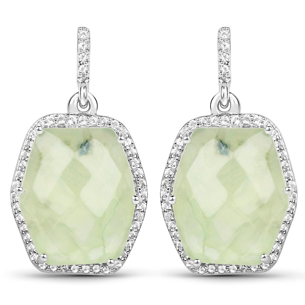 LoveHuang 13.73 Carats Genuine Prehnite and White Topaz Dangle Earrings Solid .925 Sterling Silver With Rhodium Plating