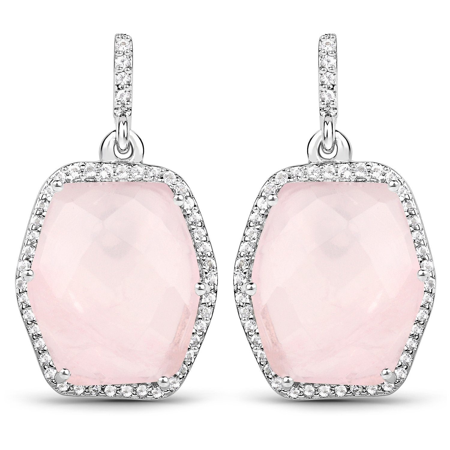LoveHuang 13.19 Carats Genuine Rose Quartz and White Topaz Dangle Earrings Solid .925 Sterling Silver With Rhodium Plating