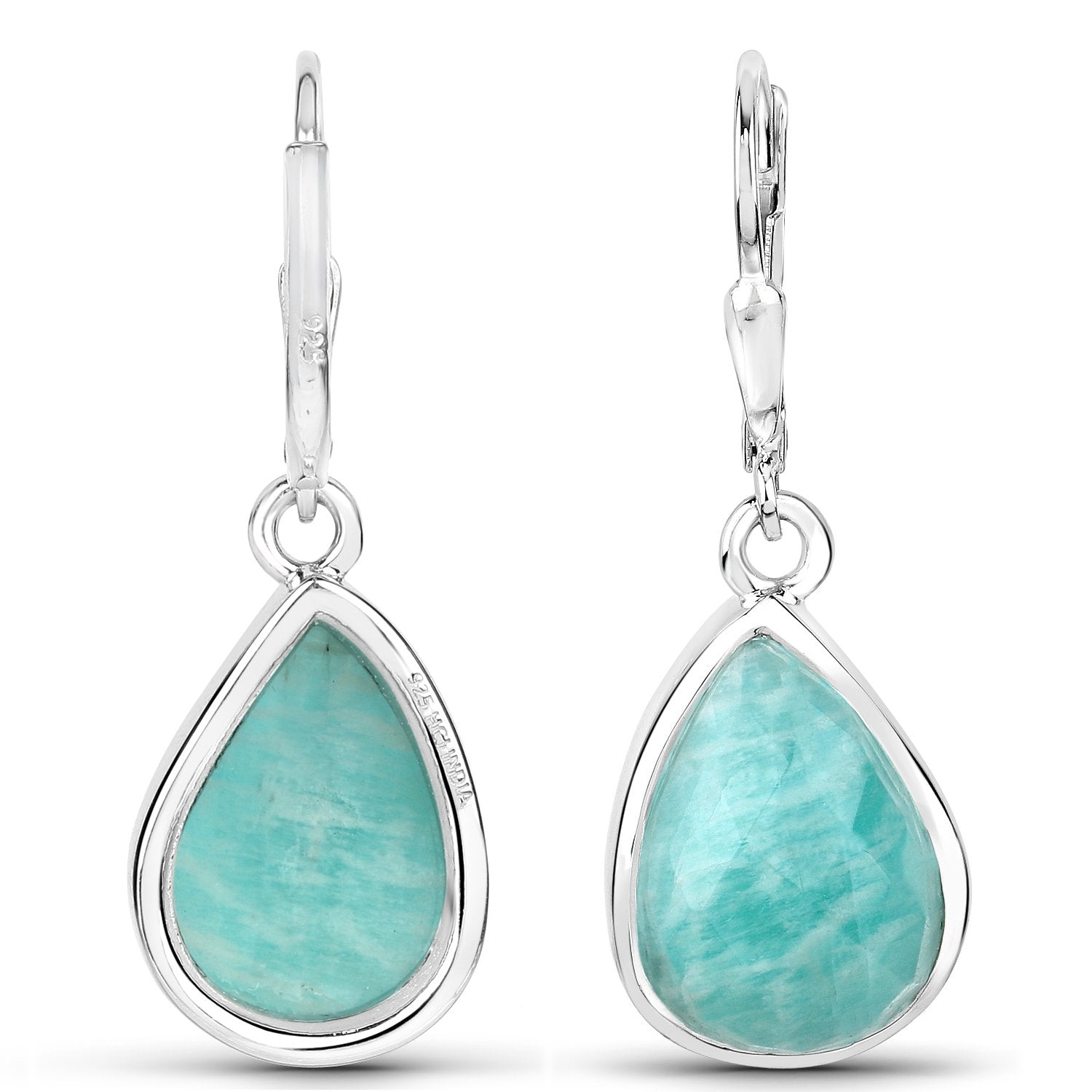 LoveHuang 9.04 Carats Genuine Amazonite Dangle Earrings Solid .925 Sterling Silver With Rhodium Plating