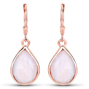 LoveHuang 6.84 Carats Genuine Pink Opal Dangle Earrings Solid .925 Sterling Silver With 18KT Rose Gold Plating