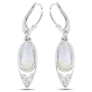 LoveHuang 4.31 Carats Genuine Prehnite and White Topaz Dangle Earrings Solid .925 Sterling Silver With Rhodium Plating