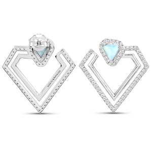 LoveHuang 2.40 Carats Genuine Larimar and White Topaz Double Diamond Earrings Solid .925 Sterling Silver With Rhodium Plating