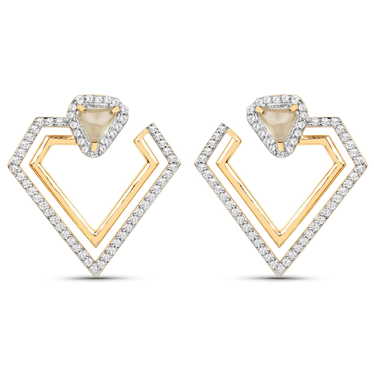 LoveHuang 2.04 Carats Genuine Prehnite and White Topaz Double Diamond Earrings Solid .925 Sterling Silver With 18KT Yellow Gold Plating