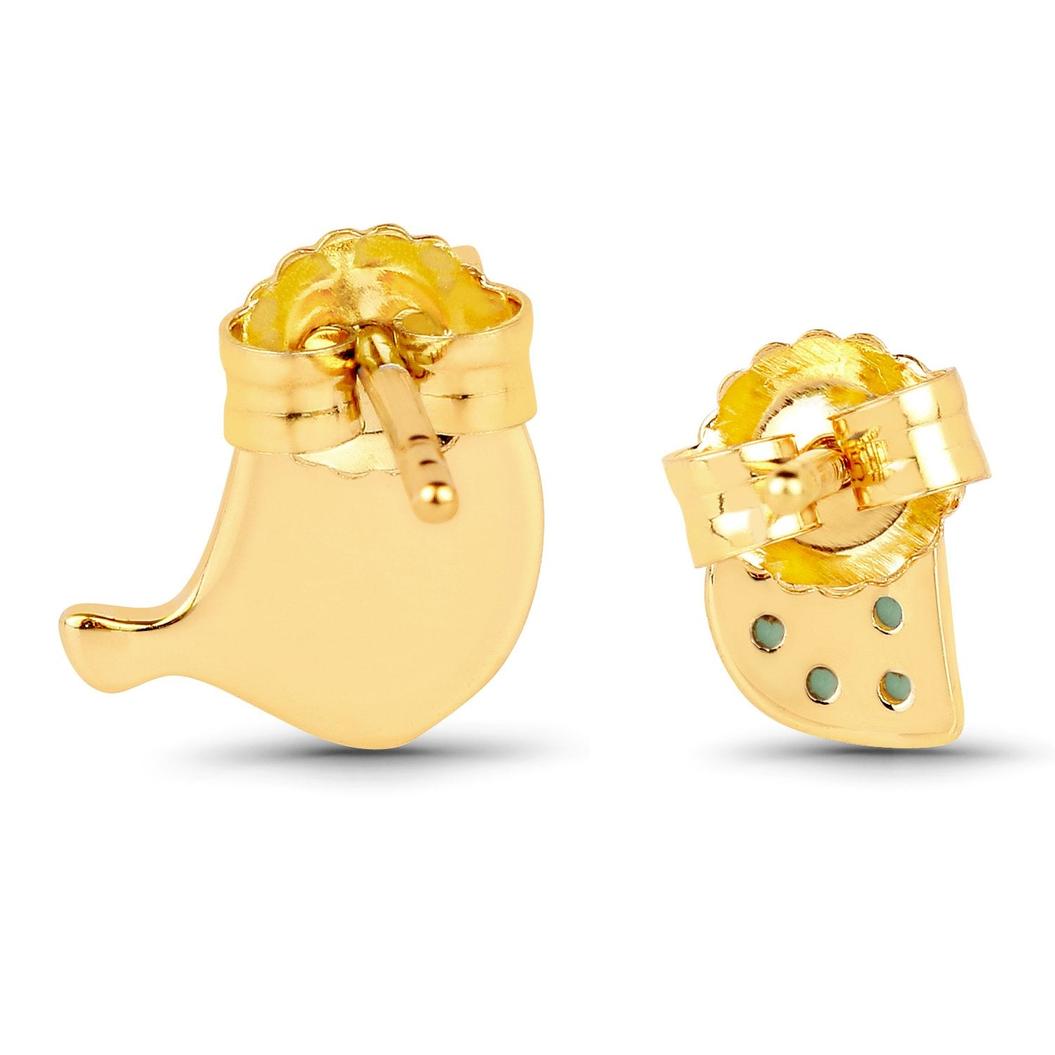 LoveHuang 0.17 Carats Genuine Emerald Bonding Birdie Earrings Solid .925 Sterling Silver With 18KT Yellow Gold Plating
