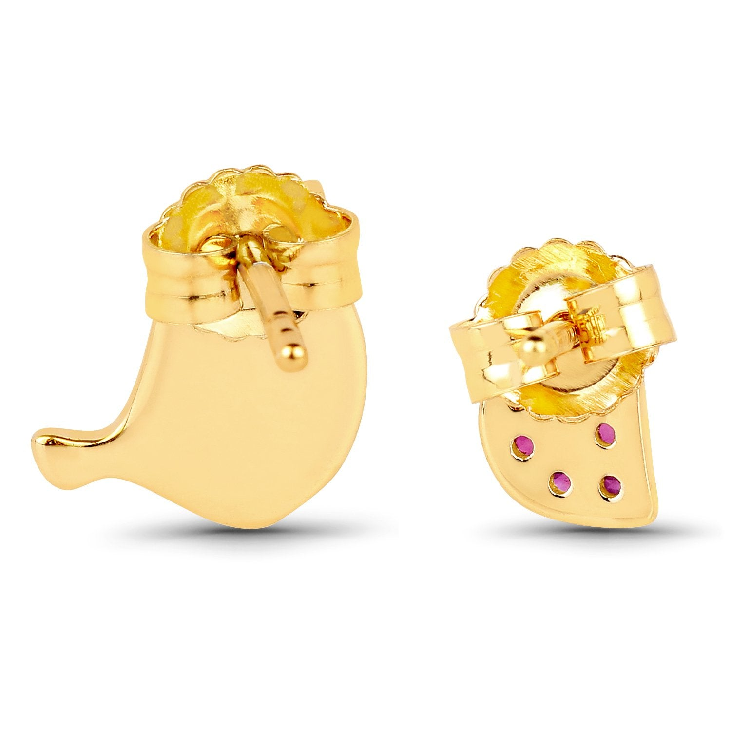 LoveHuang 0.20 Carats Genuine Ruby Bonding Bird Earrings Solid .925 Sterling Silver With 18KT Yellow Gold Plating