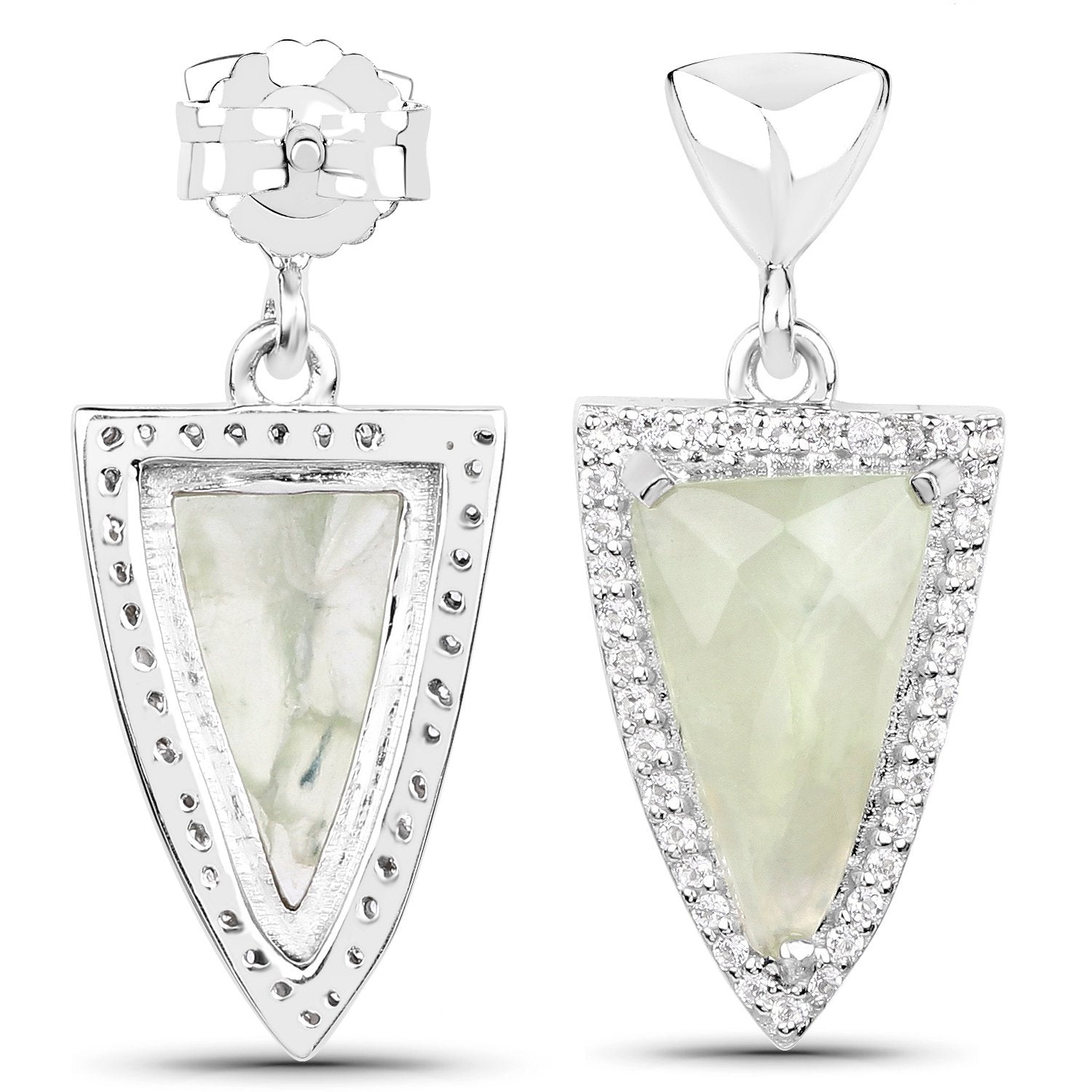 LoveHuang 4.91 Carats Genuine Prehnite and White Topaz Arrowhead Earrings Solid .925 Sterling Silver With Rhodium Plating