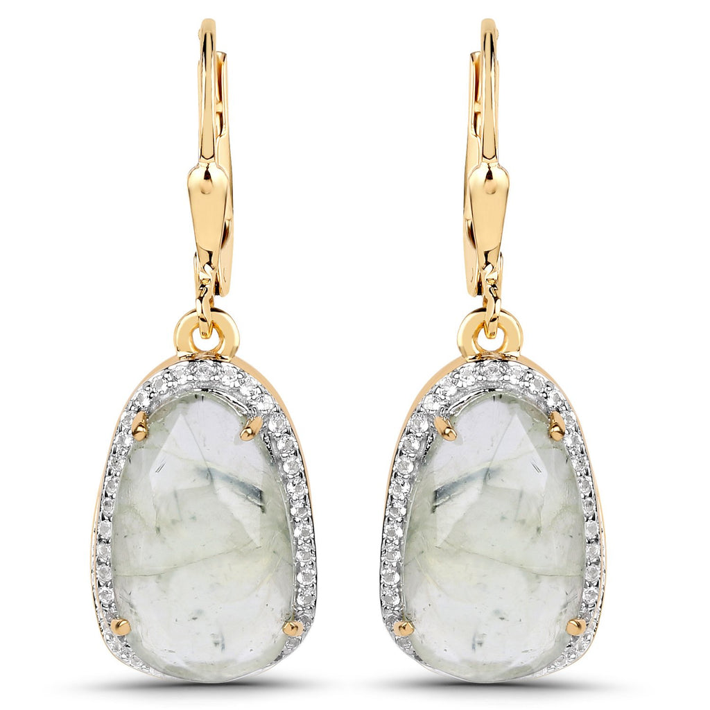 LoveHuang 8.34 Carats Genuine Prehnite and White Topaz Dangle Earrings Solid .925 Sterling Silver With 18KT Yellow Gold Plating