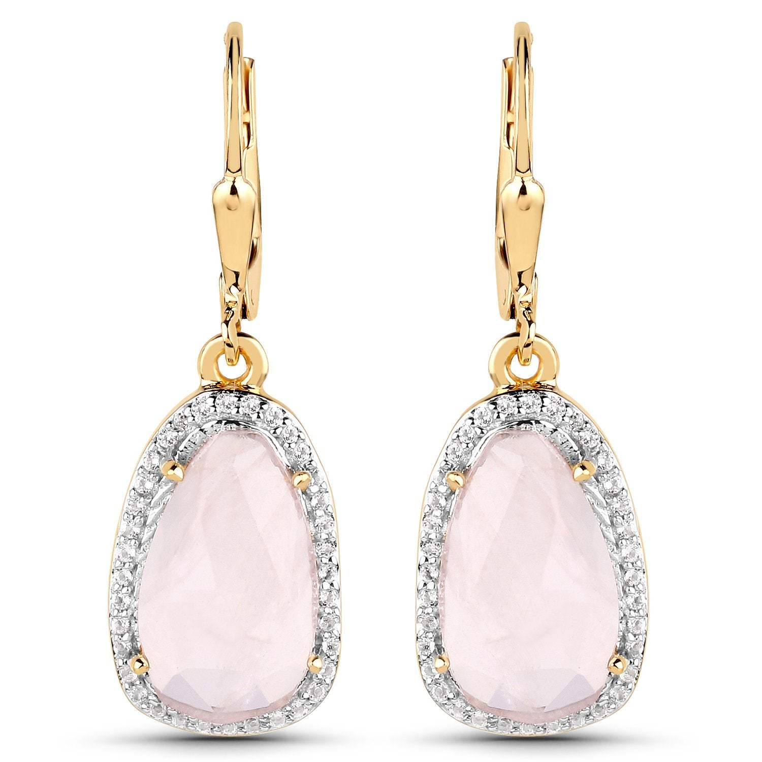 LoveHuang 6.72 Carats Genuine Rose Quartz and White Topaz Dangle Earrings Solid .925 Sterling Silver With 18KT Yellow Gold Plating