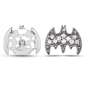 LoveHuang 0.10 Carats Genuine White Topaz Batarang Earrings Solid .925 Sterling Silver With Rhodium Plating