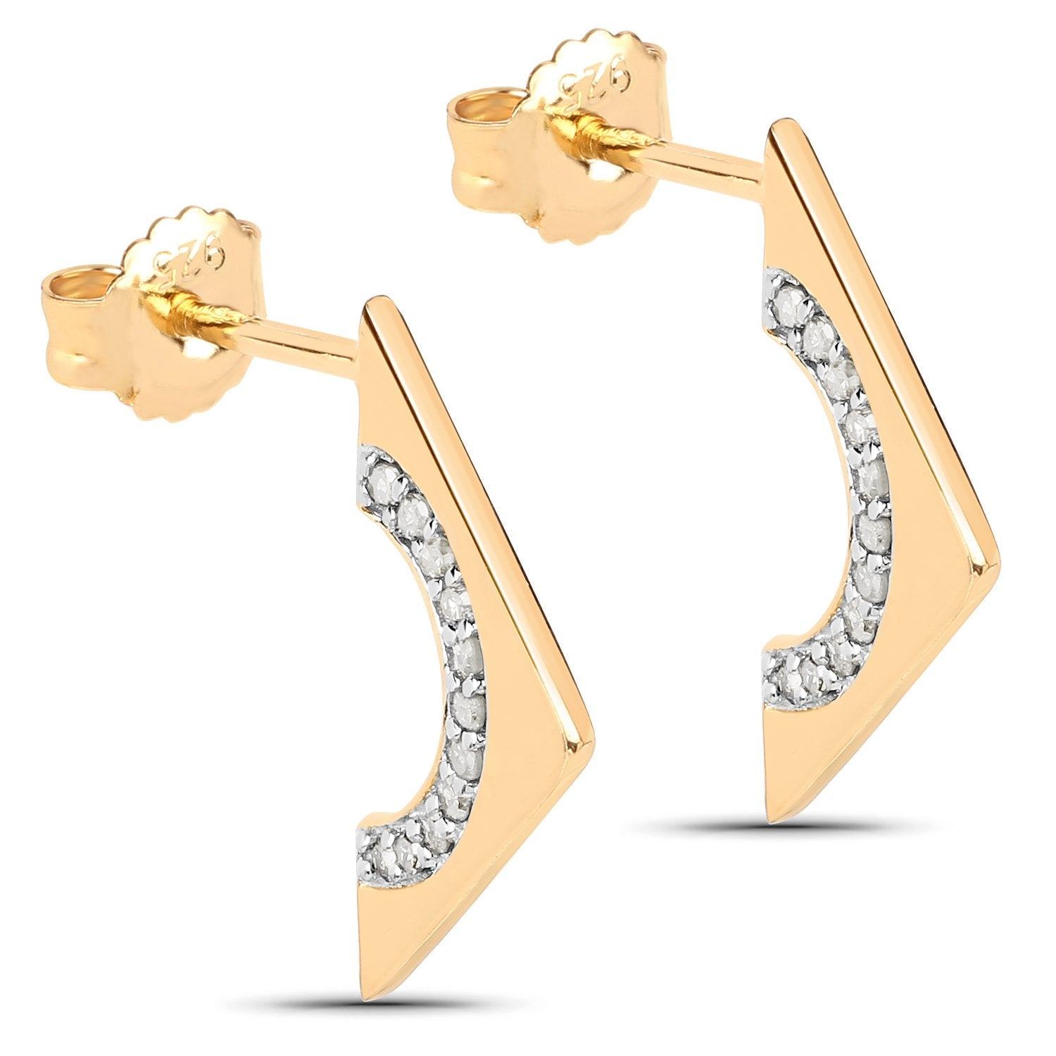 LoveHuang 0.16 Carats Genuine White Diamond (I-J, I2-I3) Arrowhead Earrings Solid .925 Sterling Silver With 18KT Yellow Gold Plating